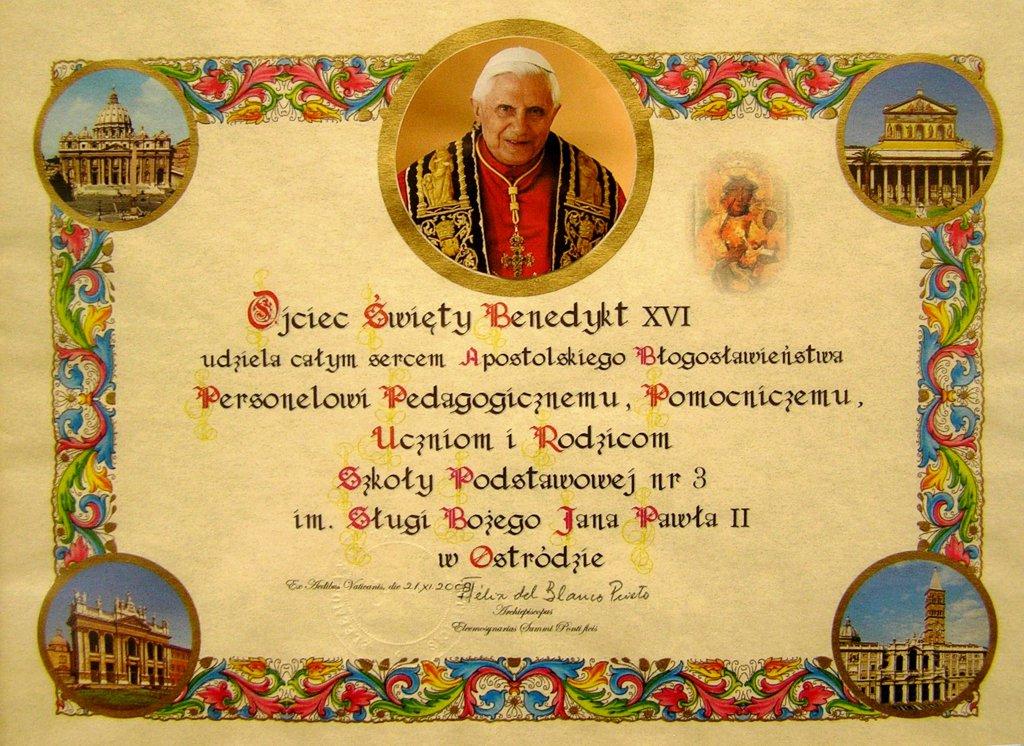 Błogosławieństwo Benedykta XVI